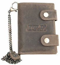 Men's natural genuine leather biker's wallet Wild with 50 cm (20 in) long chain