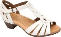 Rockport Cobb Hill Abbott Curvy T-Strap Sandal (Women's) in White Leather - NEW