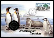 Numisbrief. Pinguine, Seelöwe, Wal, Rinder. Vögel. TAAF 1990