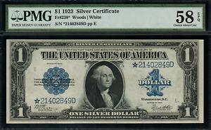 "1923 $1 Silver Certificate FR-238* - ""Star Note"" - Graded PMG 58 EPQ"
