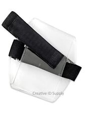 Arm Band ID Badge Holder Vertical with Elastic BLACK Strap - Pack of 100