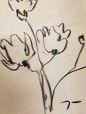 "JOSE TRUJILLO Original Charcoal Paper Sketch Drawing 9X12"" POPPY Flowers 12"""