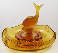 Amber Art Deco Josef Inwald Glassworks Fish Flower Frog Centrepiece Set