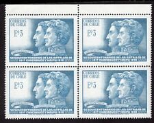 CHILE 1968 STAMP # 719 MNH BLOCK OF FOUR CHACABUCO BATTLE