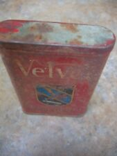 Vintage VELVET PIPE and CIGARETTE TOBACCO METAL TIN Can Advertising