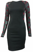 Womens Mesh Bodycon Stretch Heart Print Long Sleeve Ladies Party Dress Size 8-14
