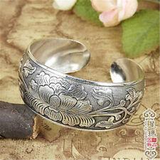 Cadeau de Noël, Propice Tibet argent Gravure Pivoine motif bracelet manchette