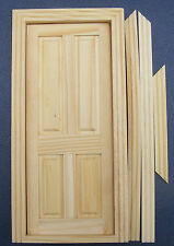1:12 Scale 4 Panel Natural Finish Opening Wooden Door Tumdee Dolls House 049