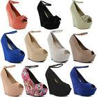 New Ladies High Heel Peep Toe Wedge Platform Ankle Strap Sandals Size UK 3-8