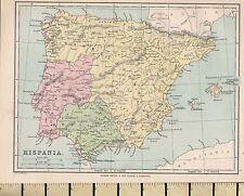 c1880 VICTORIAN MAP ~ HISPANIA ~ SPAIN BAETICA LUSITANIA
