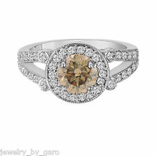 NATURAL CHAMPAGNE BROWN DIAMOND ENGAGEMENT RING HALO 14K WHITE GOLD 1.52 CARAT