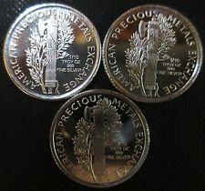 Silver .999 THREE 1/10 OZ ROUNDS Mercury Dime Design