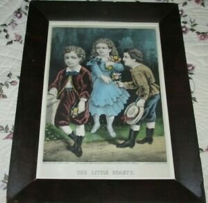 Antique Victorian Picture Frame, Currier & Ives Print, The Little Beauty