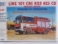 SDV Kunststoff Modellbausatz 1:87 H0 Truck LKW LIAZ 101 CAS K25 Feuerwehr
