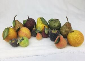 Vintage Push Pin Beaded Fake Fruit Hand Crafted Life Size Home Decor Lot of 15