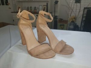 A New Day Women's Michaela Block Heel Open Toe Pumps with Ankle Strap, Taupe 7