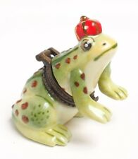 LIMOGES STYLE FROG PRINCE TRINKET BOX WITH RING AND MOVABLE FRONT LEGS