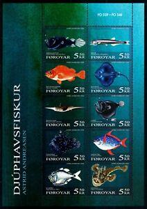 FAROE ISLANDS. 2006. Deepwater Fishes, souvenir sheet, MNH (FO539-548)
