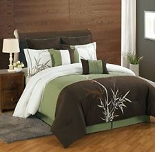 8 Piece Queen Bamboo Embroidered Comforter Set.