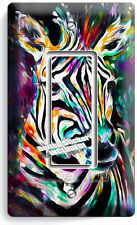 COLORFUL ZEBRA SINGLE GFI LIGHT SWITCH WALL PLATE COVER ART STUDIO BEDROOM DECOR