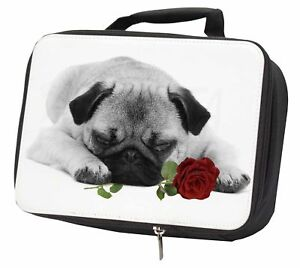 Pug (B+W Photo) with Red Rose Black Insulated School Lunch Box Bag, AD-P92R2LBB