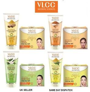 VLCC Facial Kit Ayurveda Wash Tone Cleanser Scrub Massage Cream Salon Vegetarian