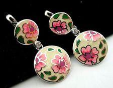 Lever Back Crystal Drop Earrings Beautiful Sterling Silver Enamel Daisy Flower
