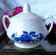 Enoch Wedgwood Blue Rose Covered Sugar Bowl, White and Blue Ironstone Sugar Bowl