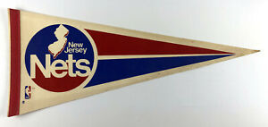 New Jersey Nets Pennant - early 1980s Vintage Red White & Blue Full Size