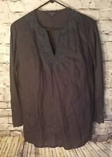 Land's End women's shirt Small 6/8 100% Linen Long Sleeve Beaded Tunic