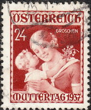 Stamp Austria Sc 0381 1937 Mother and Child Peace Used
