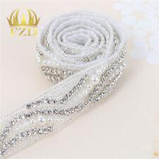 1 yard Crystal Wedding Bridal Belt Sash Applique Pearl Beaded Rhinestone Trim