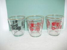 3 vintage car drinking glasses/tumblers each 8.5cm high