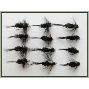 GH Montana Trout Flies, 12 Pack Short Shank, Green & Red Montanas, Size 10/12