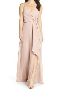 Jenny Yoo Collection NWT Size 12 Amara Dress Whipped Apricot Chiffon Gown Womens