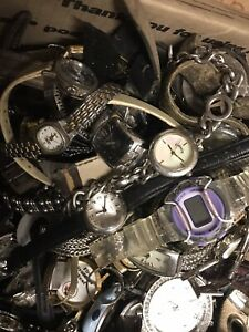 Box Full 14.9 Lbs Of Used watches mixed lot repair or for parts, Sold As Is.