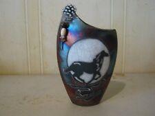 Horse Flower Vase Raku Ceramic Pottery Op011f