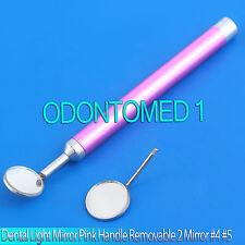 Dental Light Mirror Pink Handle Removable 2 Mirror #4 #5 Examination Instrument