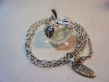 Nina Ricci Apple Pendant Necklace Clear Lucite/Acrylic Rhinestones Silver Plated