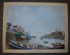 Bretagne port et bateaux, gouache de Christian Frain, 1970 bord de mer