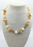 Vintage Milk Glass Amber Swirl Murano Style Bead 1950s Collar Necklace Gift Box