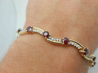 5.00 Ct Round Cut Ruby & Diamond Tennis Bracelets Solid 14K Yellow Gold Over
