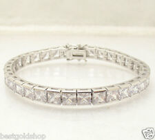 "7.25"" 40 Tcw Princess Cut Clear CZ Tennis Bracelet Real 925 Sterling Silver"