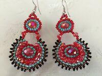 Czech Bead Crystal Red Turquoise Bronze Drop Dangle EARRINGS Boho Tribal Gypsy