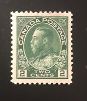 Stamps Canada SC107 2c yel grn KGV Admiral Mint Never Hinged, see detail