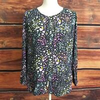 J.Jill Top Floral Blouse Petite Medium Button Front Long Sleeve Button Cuff PM
