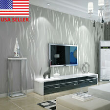 3D Silver 10m Non-woven Wave Stripe Embossed Wallpaper Rolls Decor Living Room