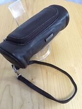 Dan Azan Women's Wristlet Brown Leather Cosmetic Makeup Case W/Mirror NWOT