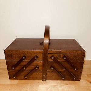 Mid Century Expandable Accordion Wood Sewing Box 3 Tier Dovetail Joints Romania