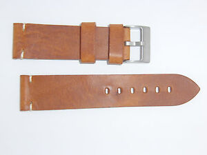 ColaReb Italy Genuine Vintage Leather Watch Band Strap 24 mm Brown  Cognac SIENA